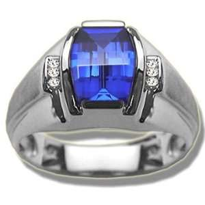 .06 ct Mens Barrel Cut Synthetic Sapphire White Gold Ring