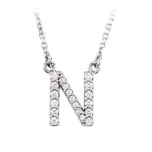 Diamond Initial Necklace in 14 Karat White Gold, Letter N Jewelry