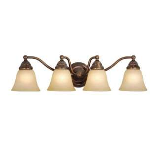 Bathroom Vanity Lighting Fixture, Royal Bronze, Cream Cognac Glass