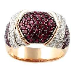 14k Rose Gold Ruby and 1/2ct TDW Diamond Ring (H I, I1 12