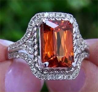 Spessartite Garnet Diamond Vintage Ring 14k White Gold GEM