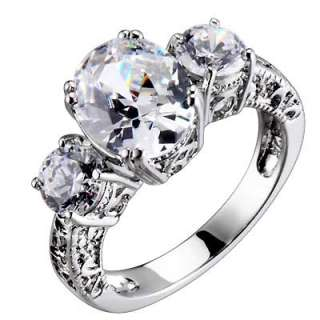 Sterling Silver 3 Stones Oval/Round Cubic Zirconia Vintage Bridal