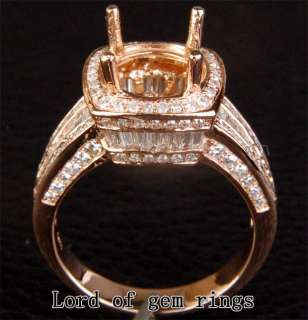 06CT DIAMOND 14K ROSE GOLD Channel Engagement Halo SEMI MOUNT RING