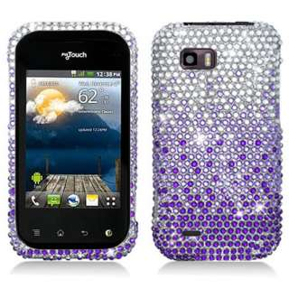 myTouch Q C800 Purple Bling Hard Case Cover +Screen Protector