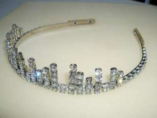 Vintage Art Deco Style Prong Set Clear Rhinestone Tiara Crown Headband