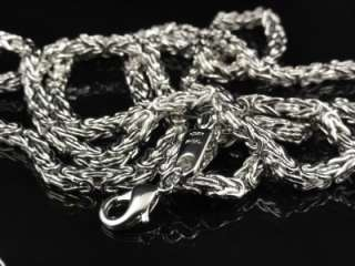 Mens Womens 14k White Gold Finish Byzantine Chain Necklace 4mm 38