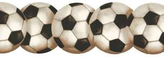 LASER CUT SOCCER BALLS SPORTS WALLPAPER BORDER BT2900B