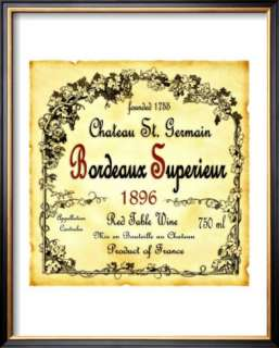 Bordeaux Wine Label Framed Giclee Print at AllPosters