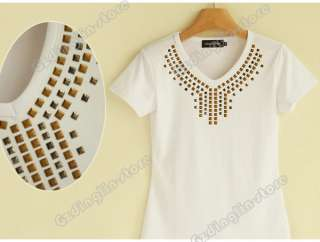 Womens Short Sleeve Summer Cotton V Neck Tops T Shirt Black/White S,M