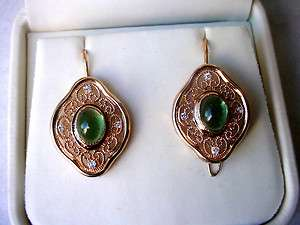 Vintage RUSSIAN 583 Rose Gold FILIGREE EarringsGreen Tourmalines