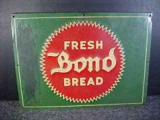 Vintage Fresh Bond Bread Rare Green Advertising Metal Sign