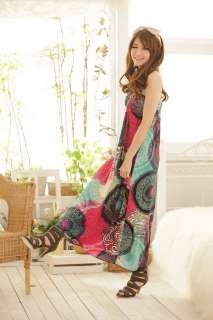 Twist Rope Halter Circle Printed Beach Long Maxi Dress #78