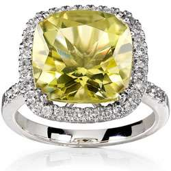 14k White Gold Cushion cut Lemon Quartz 1/3ct TDW
