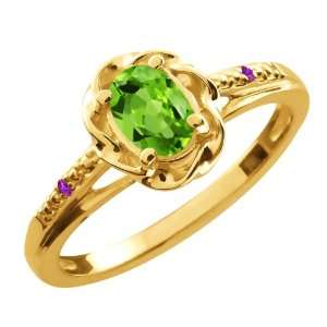 0.51 Ct Oval Green Peridot Purple Amethyst 14K Yellow Gold
