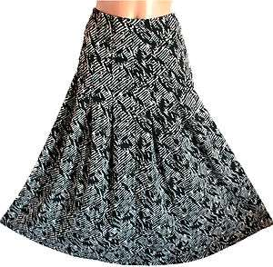 Womens Plus Size Long Full Length Maxi Skirt Gypsy Boho Black Print 1X