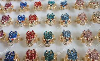 New wholesale jewelry lots 5pcs frog rhinestone gold plated rings free