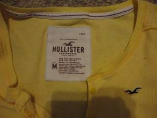 Sexy Hollister Hco Low Cut Long Yellow Tight Fitted Stretch Top Blouse