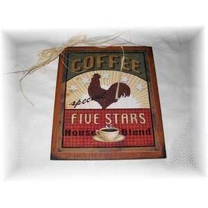 Five Star House Blend Coffee Rooster Kitchen Wooden Wall