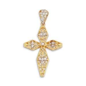 New 14k Yellow White Gold Round CZ Scroll Cross Pendant Jewelry