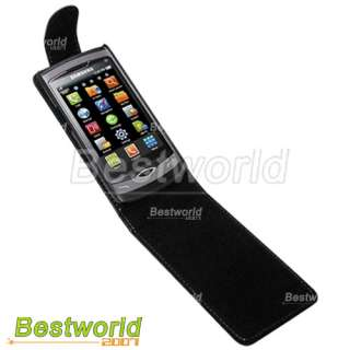 Black Leather Case Cover Housing for Samsung S8500 Wave