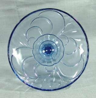 ART DECO DEPRESSION BLUE GLASS FOOTED COMPOTE BOWL FRUIT CENTERPIECE