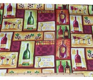Wine Tasting Bottles Grapes Patch Cotton Fabric 1/2yds SPX