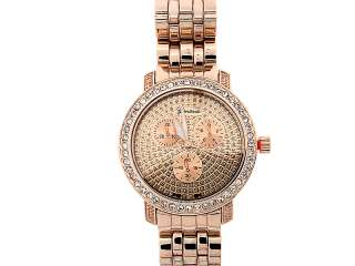 ICED OUT MENS ROSE GOLD HIP HOP GENEVA PLATINUM WATCH