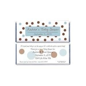 BS229B   Baby Shower Blue and Brown Dots Candy Bar Wrappers Baby