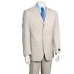 Luca Bertoni Mens Beige Stripe Wool 3 button Suit