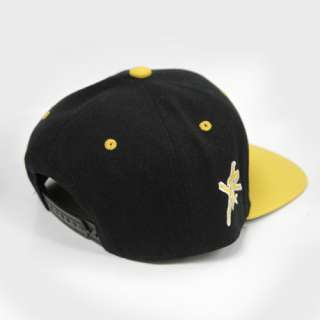 & RECKLESS Y&R BLACK YELLOW LETTERMAN BLOCK LOGO SNAPBACK HAT