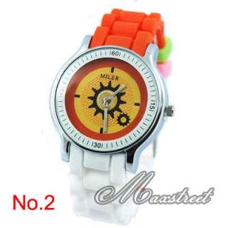 Ladies Girls Silicone Quartz Wrist Watch Gear Second Hand