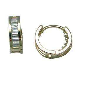 Regal CZ Tiny Band 14K Yellow Gold Huggie Earrings