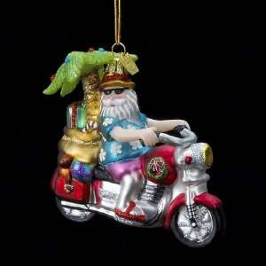 Pack of 8 Tropical Motorcycle Santa Hand Blown Glass