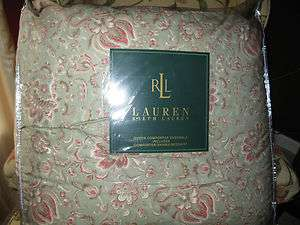 pcs. NEW! Ralph Lauren Sage Green Floral Queen COMFORTER SET 4pc