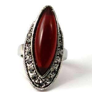 Size 10 Tibetan Silver Red Gemstone Diamante Zircon Inlaid Finger Ring