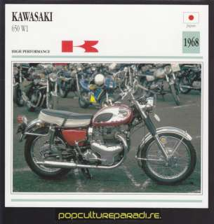 1968 KAWASAKI 650 W1 MOTORCYCLE ATLAS PICTURE SPEC CARD