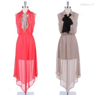 Sheer Full Length Long Sleeveless Dress with Front Ribbon Lined