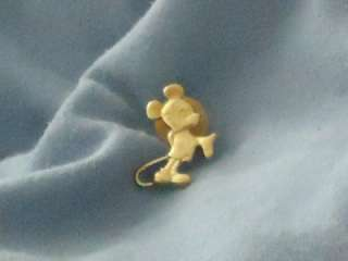 SMALL MINI MICKEY MOUSE STANDING Goldtone PLATE STERLING DISNEY PIN