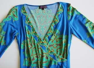 Silk Jersey Dress XS 0 2 4 UK 6 8 NWT $356 Moroccan Mirage Blue Beaded