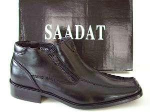 SAADAT ITALIAN Design Black Mens Shoes Boots Size 10.5