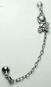 HELLO KITTY CAT DOUBLE STUD CHAIN EARRING SILVER TONE FOR MEN/WOMEN