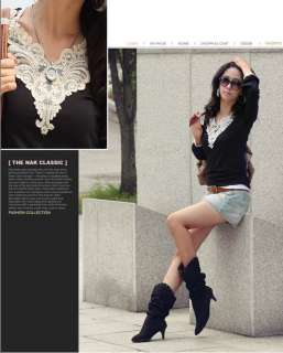 New Korea Womens Lace V Neck Puff Sleeved T shirt Ladies Tops T243