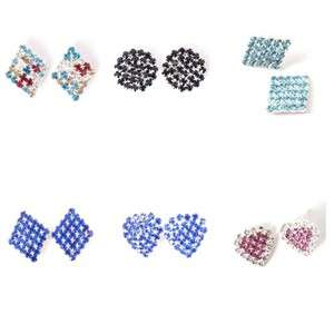 Elegant Colorful Rhinestone&Crystal Heart Shape Earrings Stud