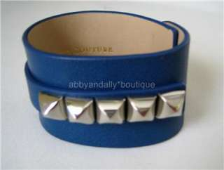 NEW Juicy Couture Leather Charm Studs Cuff Bracelet Cobalt Royal BLUE