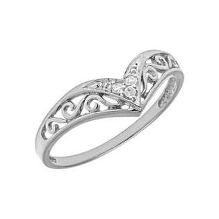Direct Jewelry 14K White Gold Diamond Chevron Ring