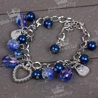 1P BLUE PEARL TEARDROP CRYSTAL BEAD CHARMS BRACELET NEW