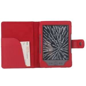 Red PU Leather Folio Cover Case Pouch for  Kindle 4