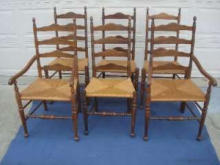 ... ETHAN ALLEN LADDERBACK DINING CHAIRS RUSH SEATS, CARVED SPINDLES ...