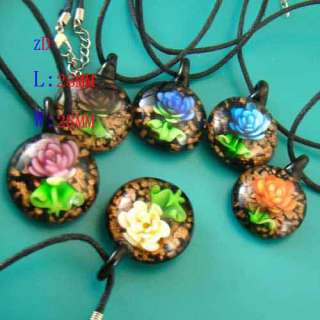 Ladys Murano Lampwork Glass Round Flower Pendant Necklace New