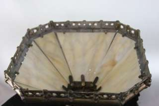 ANTIQUE / VINTAGE SLAG GLASS LAMP SHADE ART DECO